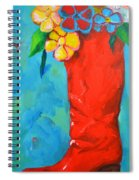 Red Boot With Flowers Spiral Notebook