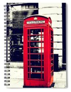 Red British Telephone Booth Spiral Notebook