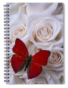 Red Butterfly Among White Roses Spiral Notebook