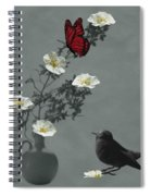 Red Butterfly In The Eyes Of The Blackbird Spiral Notebook
