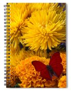 Red Butterfly On African Marigold Spiral Notebook