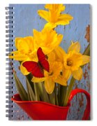 Red Butterfly On Daffodils Spiral Notebook