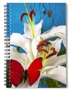 Red Butterfly On White Tiger Lily Spiral Notebook