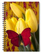 Red Butterfly Resting On Tulips Spiral Notebook