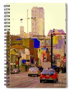 Red Cab On Gerrard Chinatown Morning Toronto City Scape Paintings Canadian Urban Art Carole Spandau Spiral Notebook