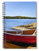 Red Canoe On Shore Spiral Notebook
