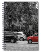 Red Car In Paris Spiral Notebook