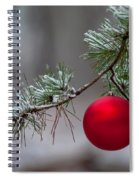 Red Christmas Ball Branch Spiral Notebook