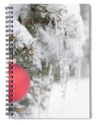 Red Christmas Ornament On Icy Tree Spiral Notebook