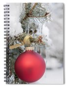 Red Christmas Ornament On Snowy Tree Spiral Notebook