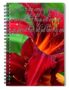 Red Day Lily And Quote Spiral Notebook