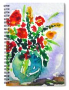 Red Flowers In A Vase Spiral Notebook