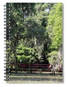 Red Footbridge Over Green Water Spiral Notebook