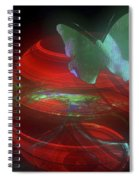 Red Fractal Bowl With Butterfly Spiral Notebook