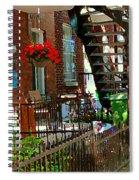 Red Geraniums Verdun Winding Staircases Hanging Flower Basket Montreal Porch Scene Carole Spandau Spiral Notebook