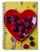 Red Heart Dish And Raspberries Spiral Notebook