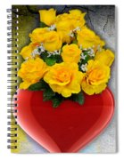 Red Heart Vase With Yellow Roses Spiral Notebook