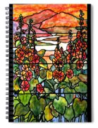 Stained Glass Tiffany Red Hollyhocks In Landscape In Watercolor Spiral Notebook
