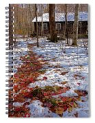 Red Leaves On Snow - Cabin In The Woods Spiral Notebook