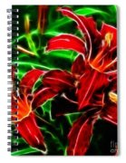 Red Lilies Expressive Brushstrokes Spiral Notebook