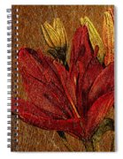Red Lily Gold Leaf Spiral Notebook