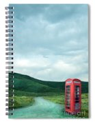 Red Phone Box On Rural Road Spiral Notebook