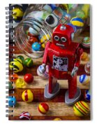 Red Robot And Marbles Spiral Notebook