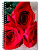 Red Roses On Lauhala Spiral Notebook