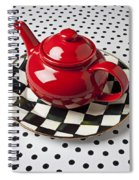 Red Teapot On Checkerboard Plate Spiral Notebook