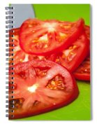Red Tomato Slices And Knife On Green Chopping Board Spiral Notebook