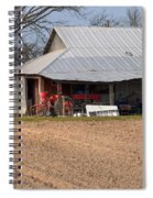 Red Tractor In A Tin Roofed Shed Spiral Notebook