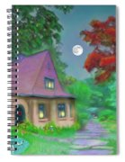 Red Tree Cottage At Dusk Spiral Notebook