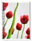 Red Tulips From The Bottom Up Triptych Spiral Notebook