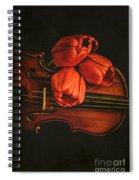 Red Tulips On A Violin Spiral Notebook