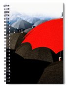 Red Umbrella In The City Spiral Notebook