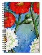 Red White And Blue Flowers Spiral Notebook