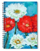 Red White And Blue Zinnia Flowers Spiral Notebook