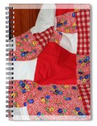 Red White And Gingham With Flowery Blocks Patchwork Quilt Spiral Notebook