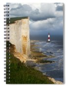 White Cliffs And Red-white Striped Lightouse In The Sea Spiral Notebook