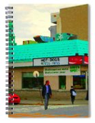 Rediscover Your Greenspot Notre Dame St Henri Dogs Et Frites Urban Food City Scenes Carole Spandau  Spiral Notebook