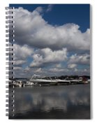 Reflecting On Boats And Clouds - Port Perry Marina Spiral Notebook