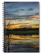 Reflection At Sunset With Cattails Spiral Notebook