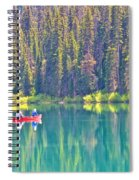 Reflective Fishing On Emerald Lake In Yoho National Park-british Columbia-canada  Spiral Notebook