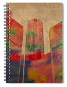 Renaissance Center Iconic Buildings Of Detroit Watercolor On Worn Canvas Series Number 2 Spiral Notebook