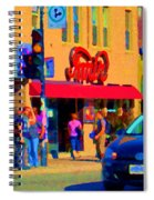 Restaurant Amir Internet Cafe Fast Food Plateau Montreal City Street Scene Art Carole Spandau  Spiral Notebook