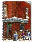 Restaurant Epicerie Jean Guy Pointe St. Charles Montreal Art Verdun Winter Scenes Hockey Paintings   Spiral Notebook