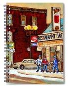 Restaurant Greenspot And Coin Vert Boutique Fleuriste Montreal Winter Street Hockey Scenes Spiral Notebook