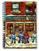 Restaurant Woodland Pizza Rue Wellington Verdun Original Hockey Art Montreal Paintings Commissions   Spiral Notebook