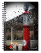Retro Gas Pump On A Rainy Day Spiral Notebook