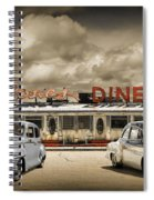 Retro Photo Of Historic Rosie's Diner With Vintage Automobiles Spiral Notebook